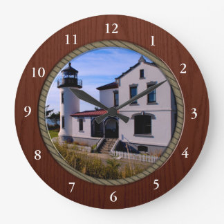 Admiralty Head Lighthouse Rope and Wood border Large Clock