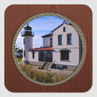 Admiralty Head Lighthouse Washington State Square Sticker