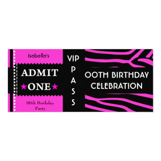 Admission Birthday Party Zebra Hot Pink Black 10 Cm X 24 Cm Invitation Card