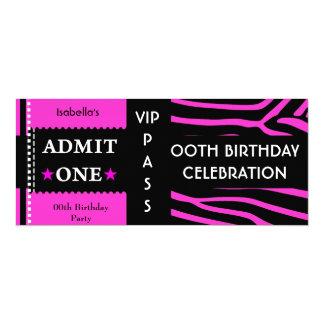 Admission Birthday Party Zebra Hot Pink Black Card
