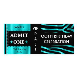 Admission Birthday Party Zebra Teal Blue Black 10 Cm X 24 Cm Invitation Card