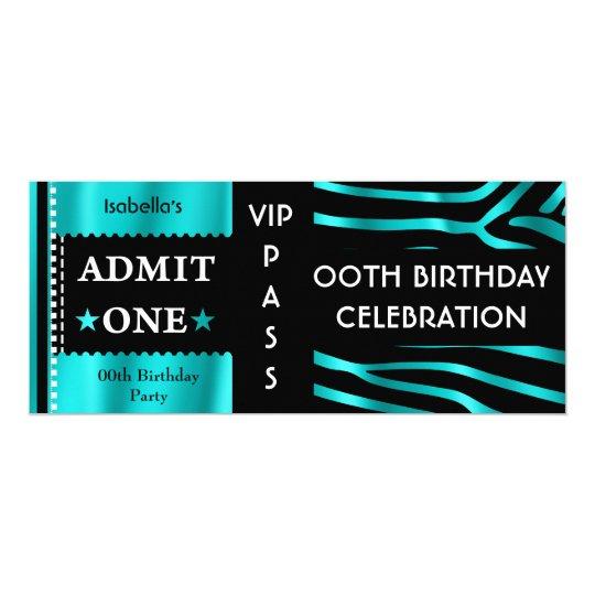 Admission Birthday Party Zebra Teal Blue Black Card