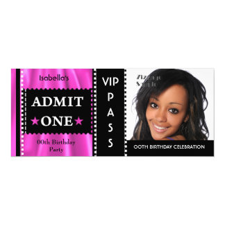 Admission Ticket Birthday Party Photo Pink Black 10 Cm X 24 Cm Invitation Card
