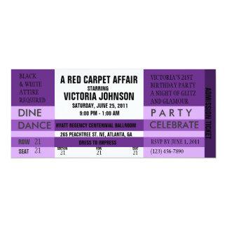 """Admission Ticket Invite [Purple] 4"""" X 9.25"""" Invitation Card"""