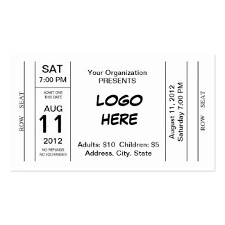 Admission Ticket Pack Of Standard Business Cards