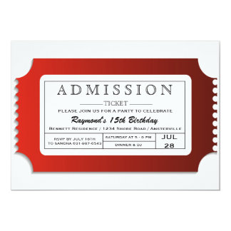 Admission Ticket to Party 13 Cm X 18 Cm Invitation Card