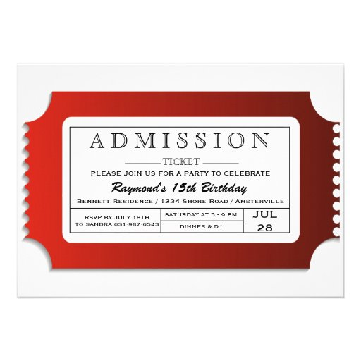 Admission Ticket to Party Custom Invites