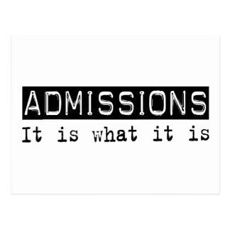 Admissions It Is Post Card