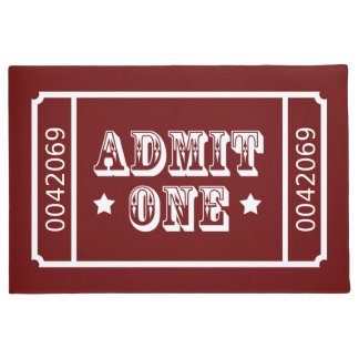 Admit One Circus Theatre Ticket Custom Color Doormat