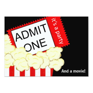 "Admit One Movie and Birthday Party Invitation 5"" X 7"" Invitation Card"