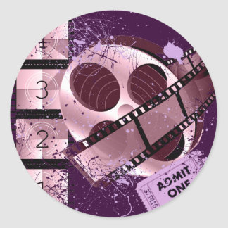 ADMIT ONE MOVIE FILM DESIGN CLASSIC ROUND STICKER