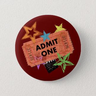 ADMIT ONE MOVIE TICKET 6 CM ROUND BADGE