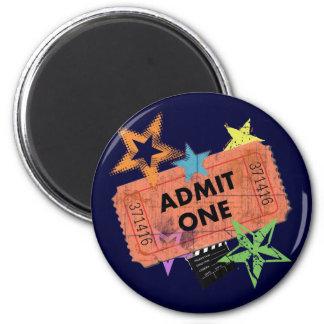 ADMIT ONE MOVIE TICKET 6 CM ROUND MAGNET