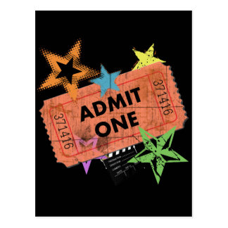 ADMIT ONE MOVIE TICKET POST CARD
