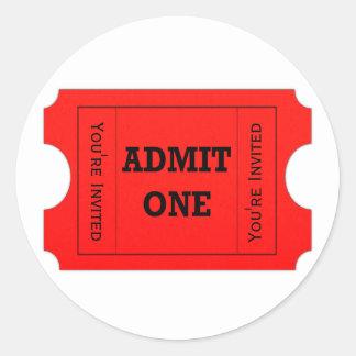 Admit One Red Ticket Envelope Seal Stickers