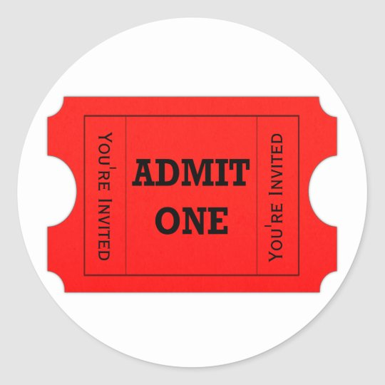 Admit One Red Ticket Envelope Seal Stickers