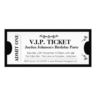 Admit one VIP 21st birthday party photo invite