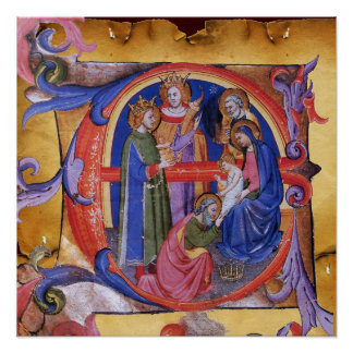 ADOATION OF MAGI NATIVITY PARCHMENT MONOGRAM PRINT