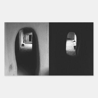 Adobe Corridor Black and White photos Rectangle Sticker