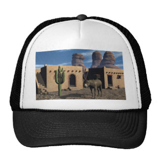 Adobe Dwellings and Burro Trucker Hat