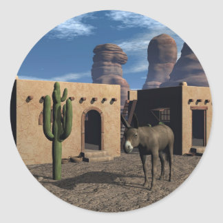 Adobe Dwellings and Burro Round Sticker