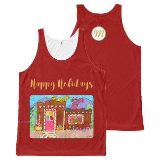 Adobe Gingerbread House & Cats Holiday Monogram All-Over Print Tank Top