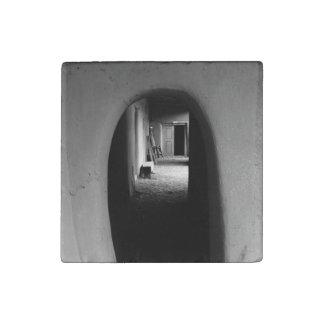 Adobe Passageway: Black & White photo Stone Magnet