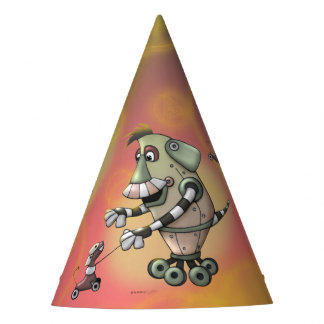 ADOGGY AND FLETCH ALIEN ROBOTS CARTOON PARTY HAT
