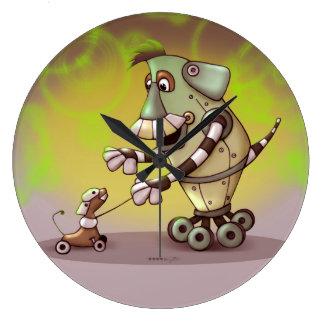 ADOGGY AND FLETCH ROBOT CARTOON CLOCK LARGE ROUND
