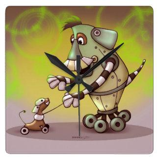 ADOGGY AND FLETCH ROBOT CARTOON CLOCK LARGE SQUARE