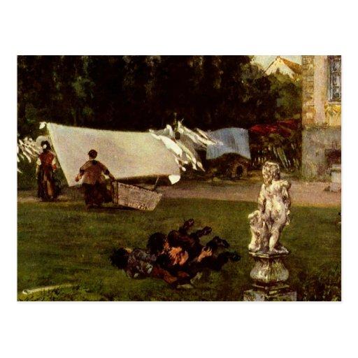 Adolf Menzel - garden scene Postcards