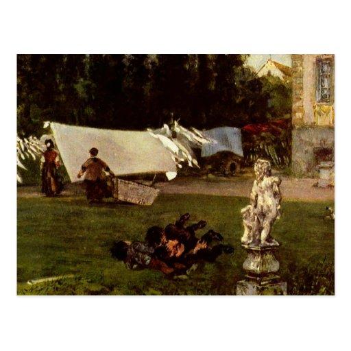 Adolf Menzel - garden scene Post Card