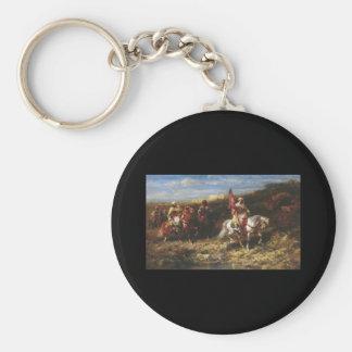 Adolf Schreyer Arab Horseman In A Landscape Basic Round Button Key Ring
