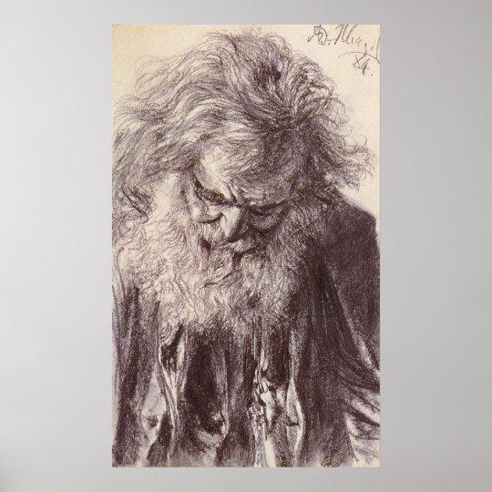Adolph von Menzel Portrait Of An Old Man Poster