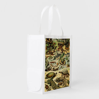 Adolphe Millot Reptiles 2 Reusable Grocery Bag