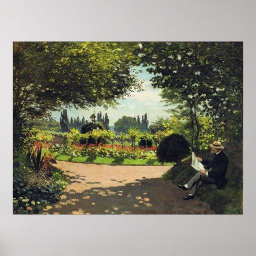 Adolphe Monet Reading in the Garden - Claude Monet Poster