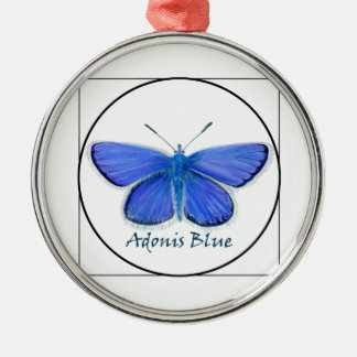 Adonis Blue Butterfly Watercolor Painting Silver-Colored Round Decoration