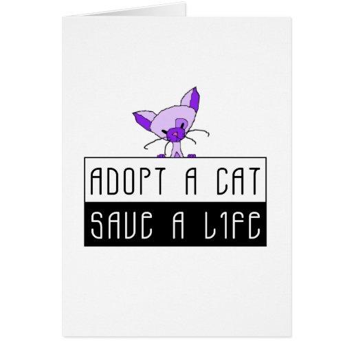 Adopt A Cat Save A Life - Customizable Card