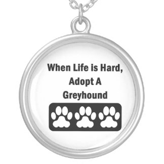 Adopt A Greyhound Round Pendant Necklace