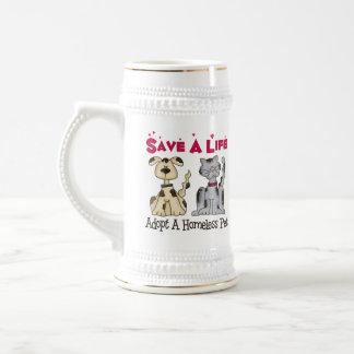 Adopt A Homeless Pet Beer Stein Mug