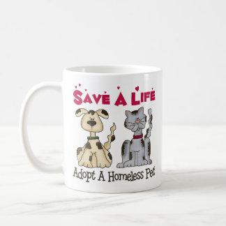 Adopt A Homeless Pet Coffee Mug/Cup Basic White Mug