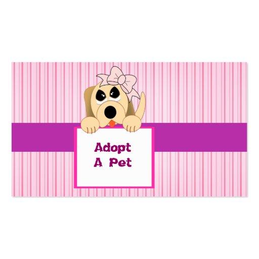 Adopt A Pet, Adorable Sign Business Card Template