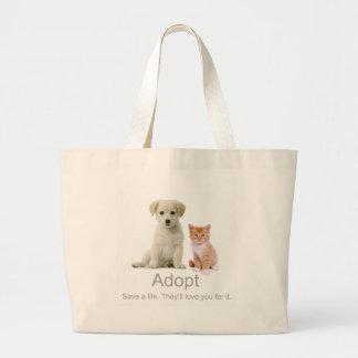 adopt a pet large tote bag