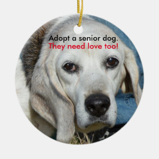 Adopt a senior dog. They need love too! Round Ceramic Decoration