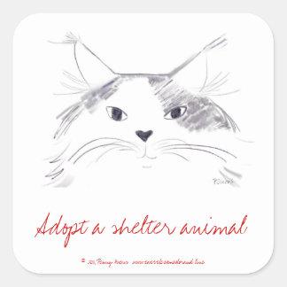Adopt a shelter animal square sticker