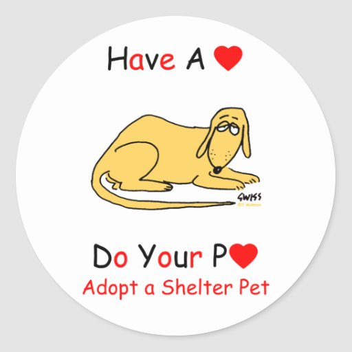 Adopt a Shelter Animal Round Stickers