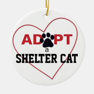 Adopt a Shelter Cat Round Ceramic Decoration