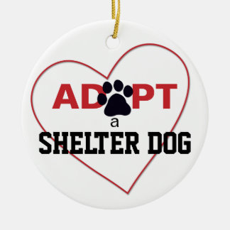 Adopt a Shelter Dog Double-Sided Ceramic Round Christmas Ornament