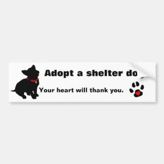 Adopt A Shelter Dog Design Car Bumper Sticker