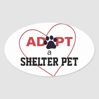 Adopt a Shelter Pet Oval Stickers
